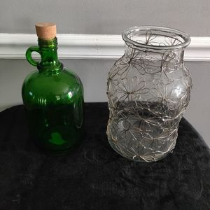 Bundle Lot of 2 Butterfly Vase and Green Jug